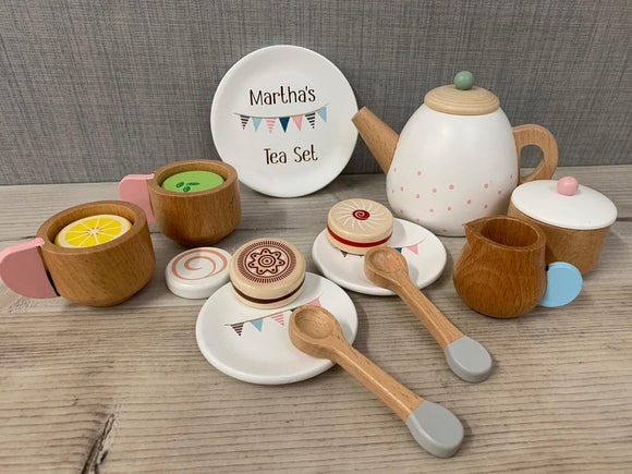 Personalised Wooden Tea Set