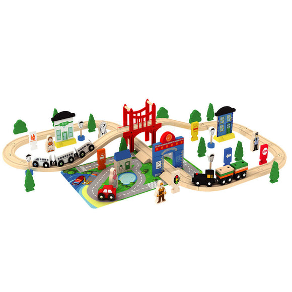 Wooden 80 Piece City & Train Set