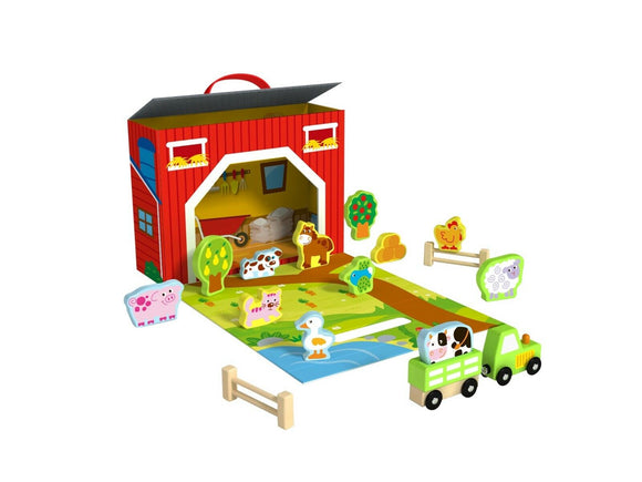 Wooden Farm Yard With Characters Play Set