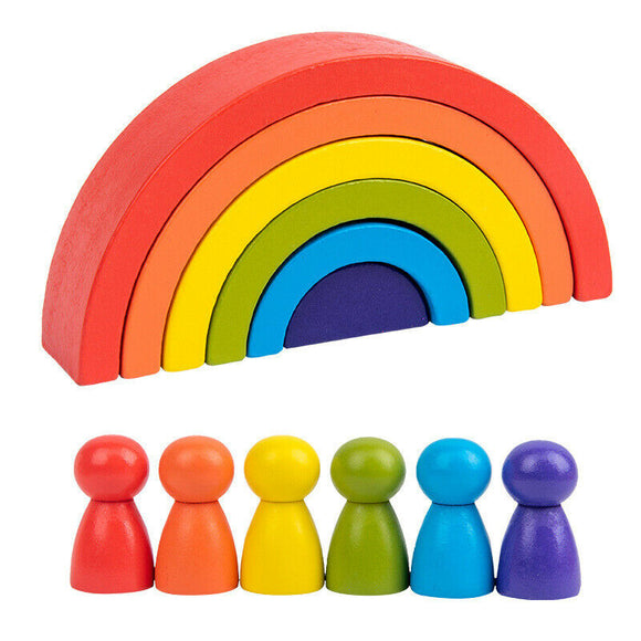 Wooden Rainbow Building Stacking Blocks Baby Toddler Educational Montessori Toy