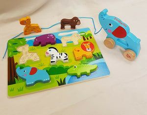 Personalised Wooden Pull Along Toy and Puzzle