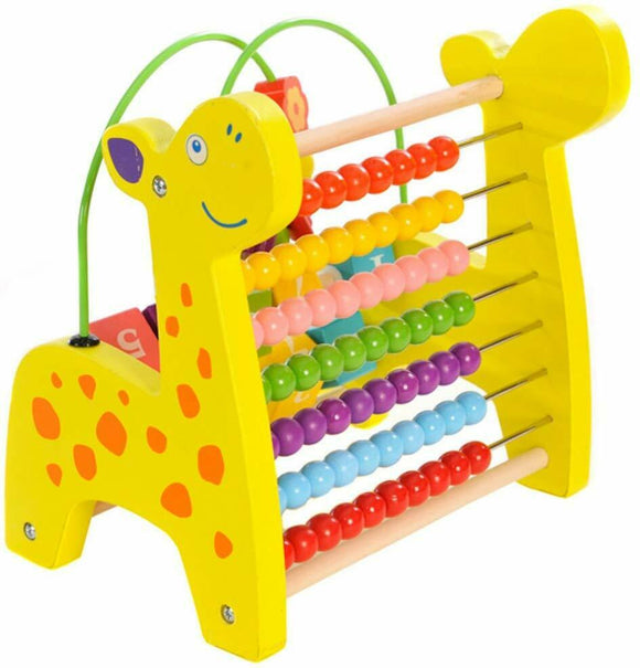 Wooden Giraffe Abacus and Block Frame