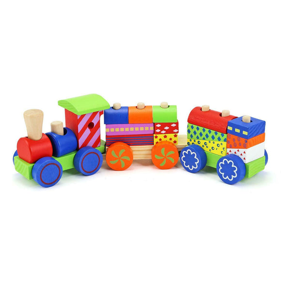 17 Piece Wooden Train Set
