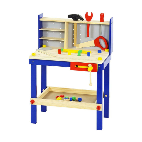 34 Piece Wooden Tool Work Bench and Tools