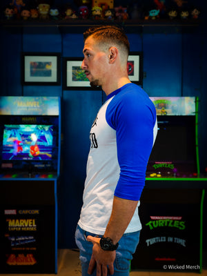 Baseball Tee Men's Blue Sleeves White