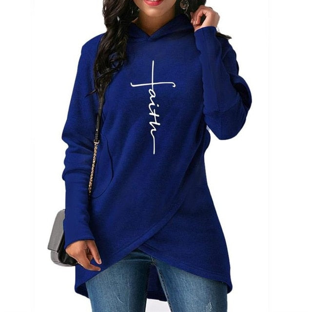 Faith Hoodie For Women Split Sweatshirt
