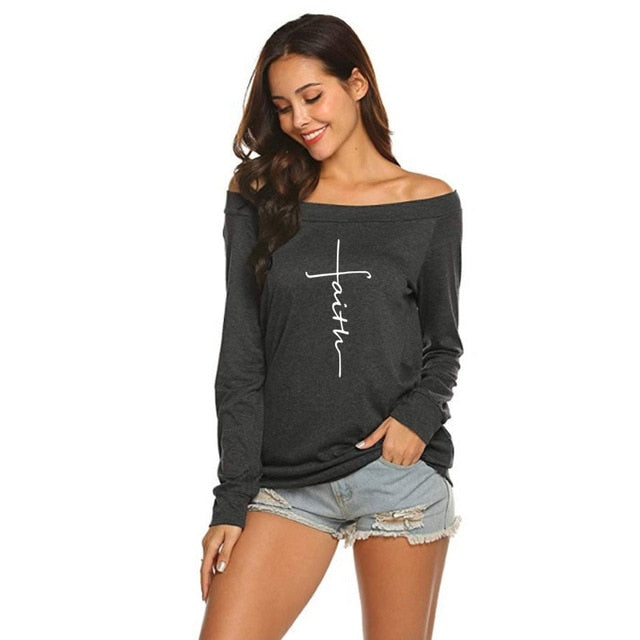 FAITH T-Shirt For Women Long Sleeve Off-The-Shoulder