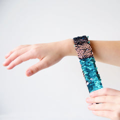Sequin Flip Slap Bracelet - Pearl Pink to White (*Now in stock!)