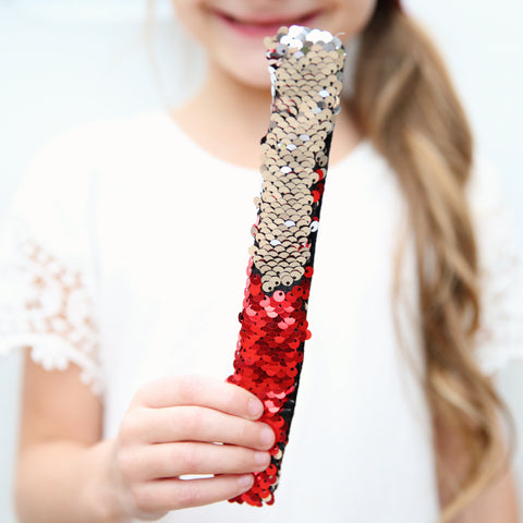 Sequin Flip Slap Bracelet - Red to Silver (*Now in stock!)