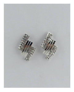 Rectangular rhinestone stud earrings