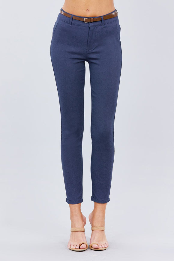 Blue Belted Textured Long Pants