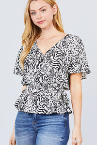 Ruffle Short Sleeve V-neck Surplice Side Ribbon Tie Woven Top