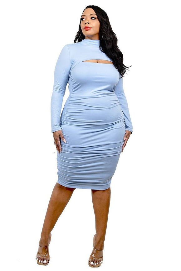 Plus Solid Mock Neck Top 2 Piece Dress Set