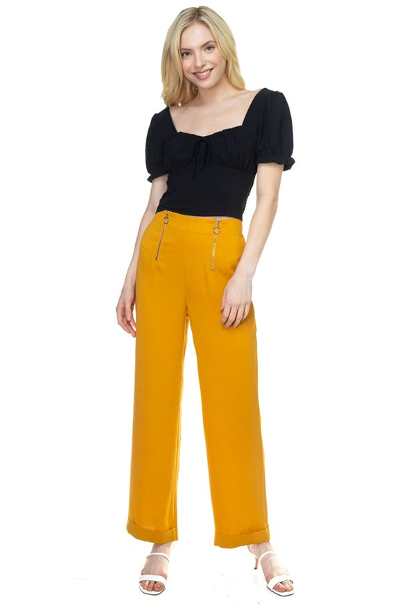 Double O-ring Zipper Up Pants