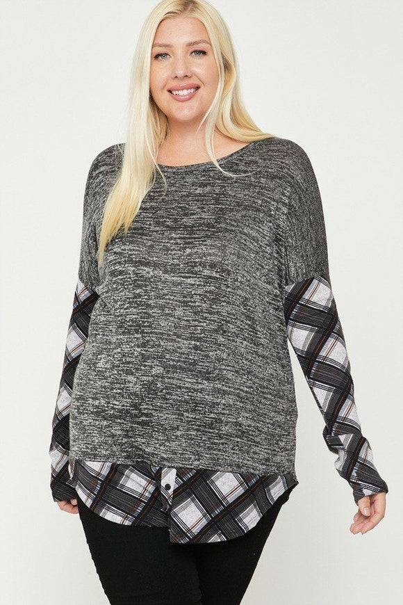 Charcoal & Grey Two Tone Knit Top