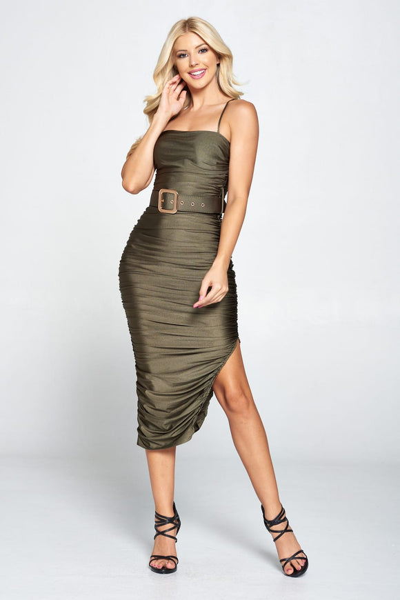 Ruched Belted Midi Dress