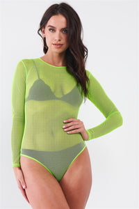 Sexy Neon Green Fine Fishnet Sheer Bodysuit