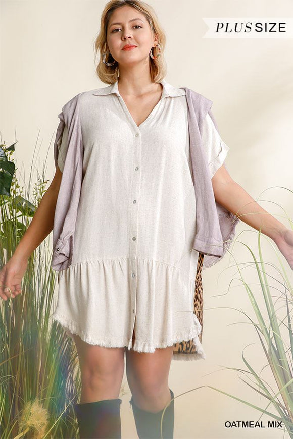 Linen Blend Animal Print Short Folded Sleeve Button Down Dress With Frayed Scoop Hem