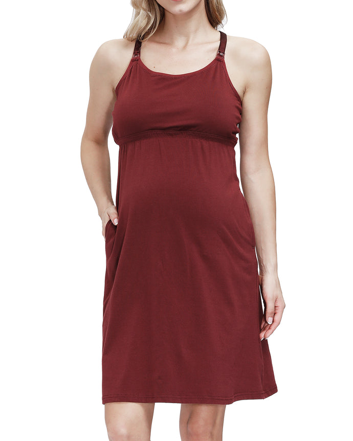 HOFISH Women's Maternity Tunics Tank Tops Nursing Long Dress with Removable Pads RedWine