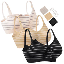Load image into Gallery viewer, HOFISH Women's Everyday Bra Wire-Free Ultra-Soft Sleeping Bras, Bikini Swimsuits 3Pack BlackBeigePink