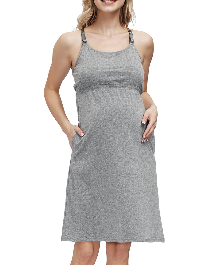 HOFISH Women's Maternity Tunics Tank Tops Nursing Long Dress with Removable Pads Grey