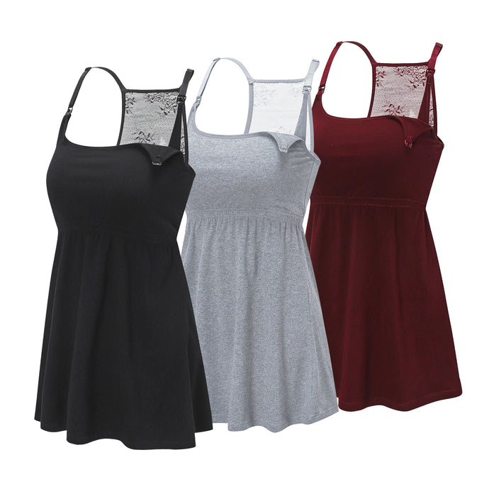 HOFISH Women's Maternity Tunics Pregnancy Top Clothes 3Pack BlackGreyRed