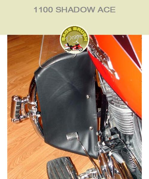 Honda 1100 Shadow ACE with black vinyl engine guard chaps