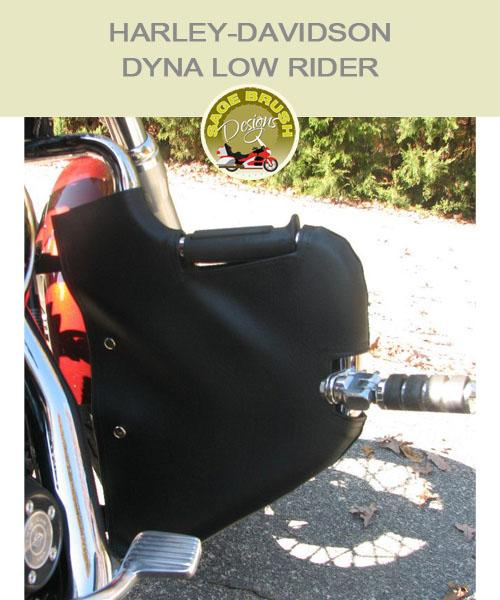 Dyna Low Rider Lindy Multibar black vinyl engine guard chaps with cutout