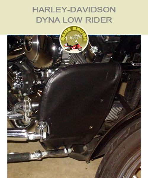 Dyna Low Rider OEM black vinyl engine guard with cutout