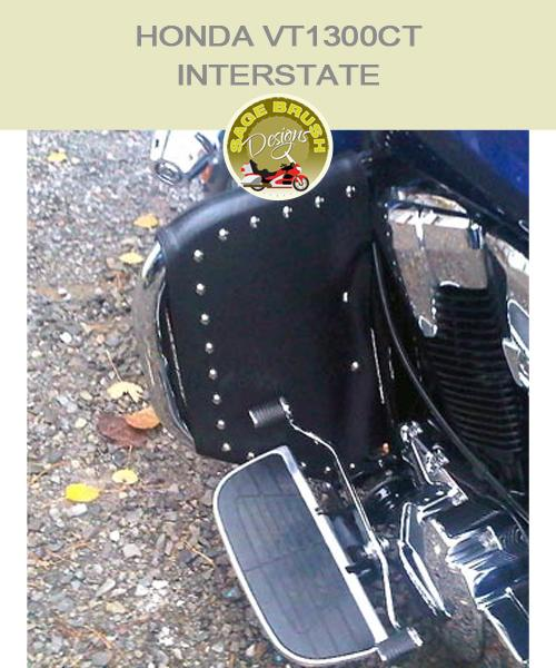 Honda VT1300CT Interstate with black studded engine guard chaps