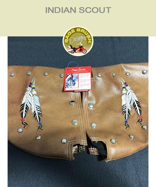 Indian Scout tan engine guard chaps with studs and feather embroidery