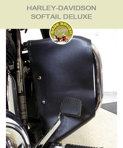 Softail Deluxe OEM black vinyl engine guard chaps