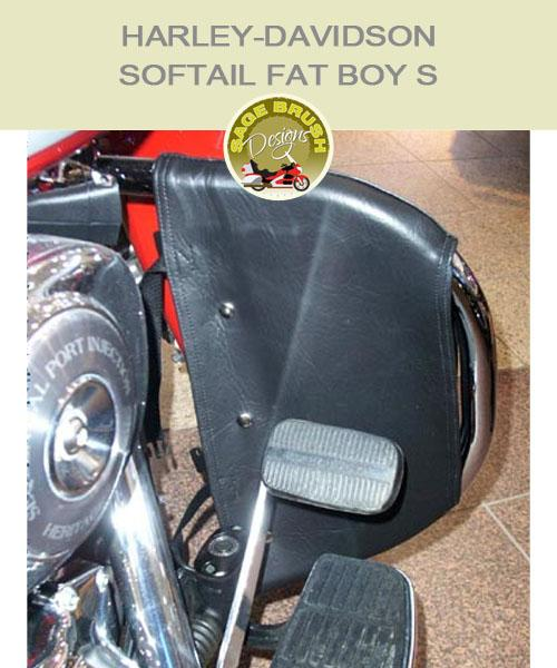 Softail Fat Boy S OEM bar with black engine guard chaps