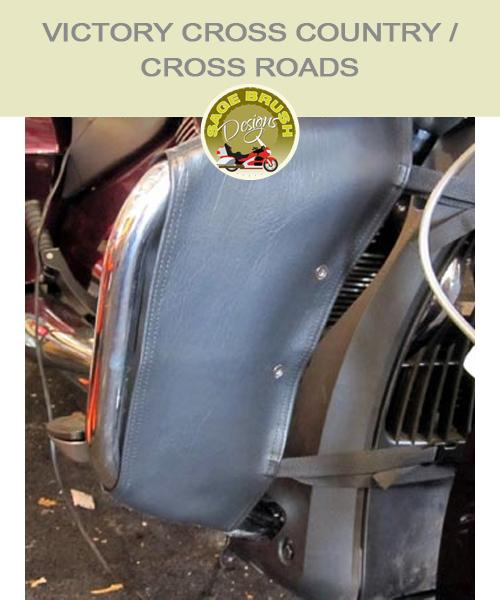 Victory Cross Roads and Cross Country OEM bar with black engine guard chaps