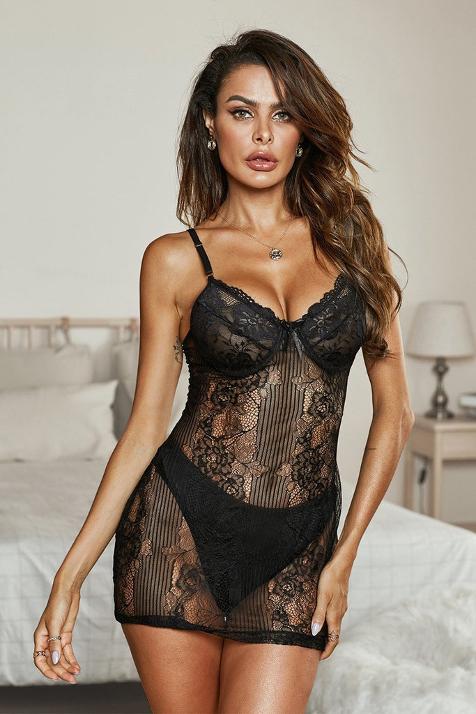 Black Spaghetti Strap Lace Lingerie Slip Dress