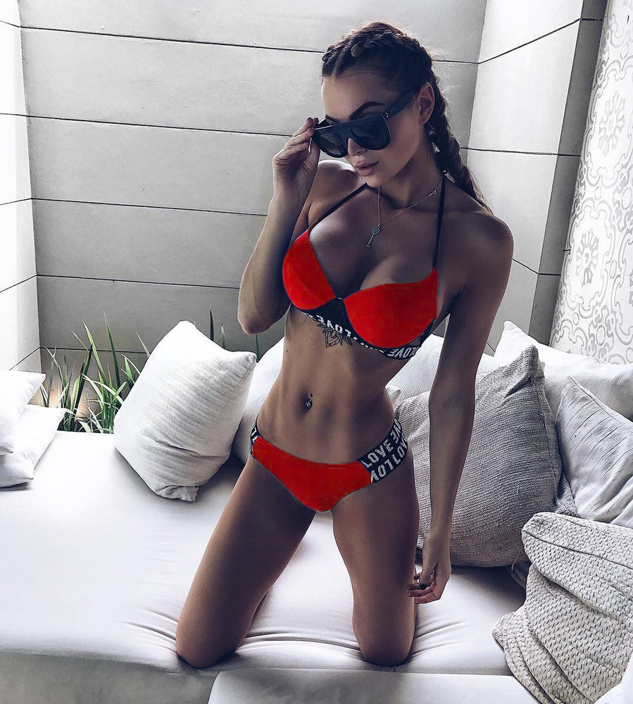 Push up Cut Out Letter Print Bikini