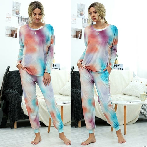 Women Causal Long Sleeve Printed Loose Tops and Pants Two-piece - MorphU LLC