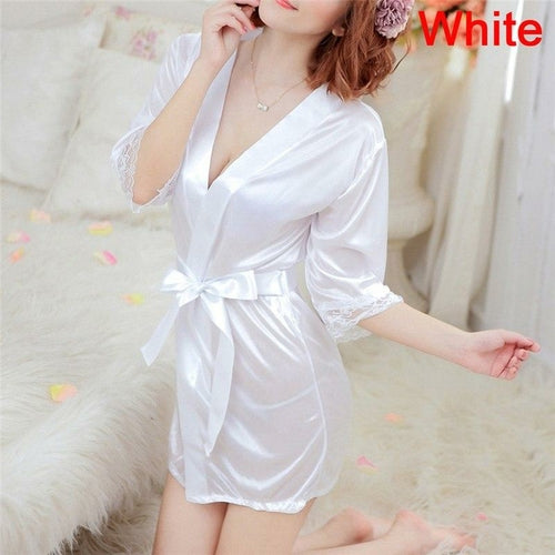 Women's Sexy Lingerie Set Sexy Ice Silk Robe with Bathrobe