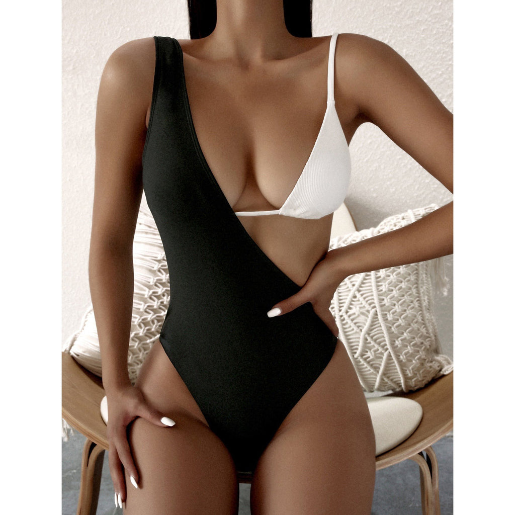 Patchwork Black White Two=piece Swimsuit - MorphU LLC