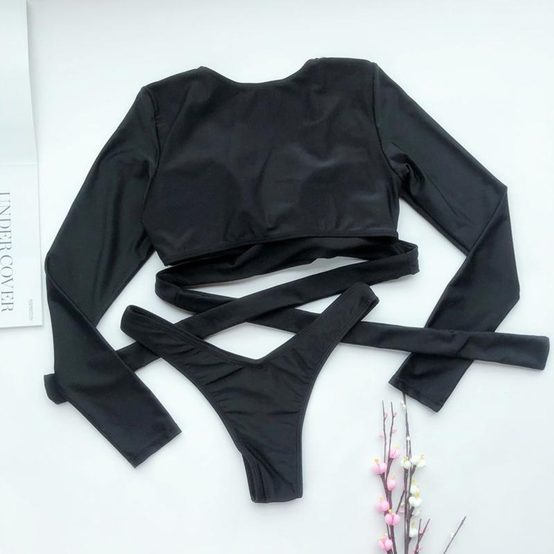 Long Sleeve Black Bikini Extreme Thong Woman Swimsuit - MorphU LLC