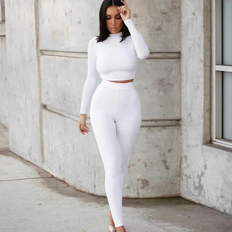 Sport Fitness 2 Two Piece Set Long Sleeve Crop Tops Tshirt Leggings