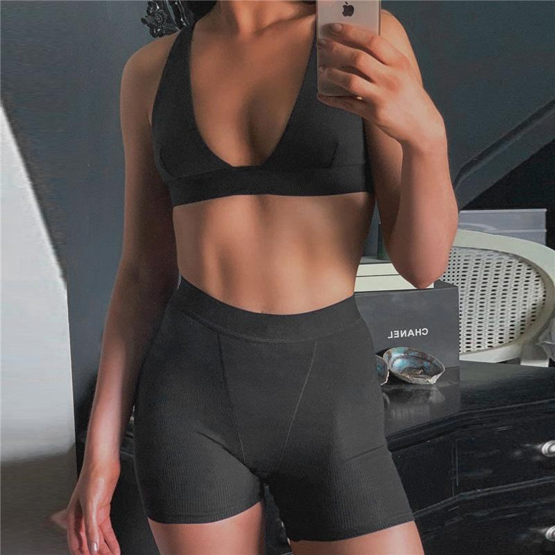 Load image into Gallery viewer, V-neck Women Crop Top and Shorts Sportswear - MorphU LLC