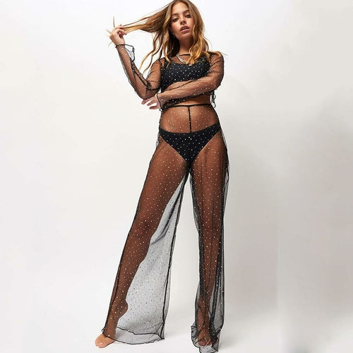 Women Sexy Mesh Beach Cover-up Two-piece