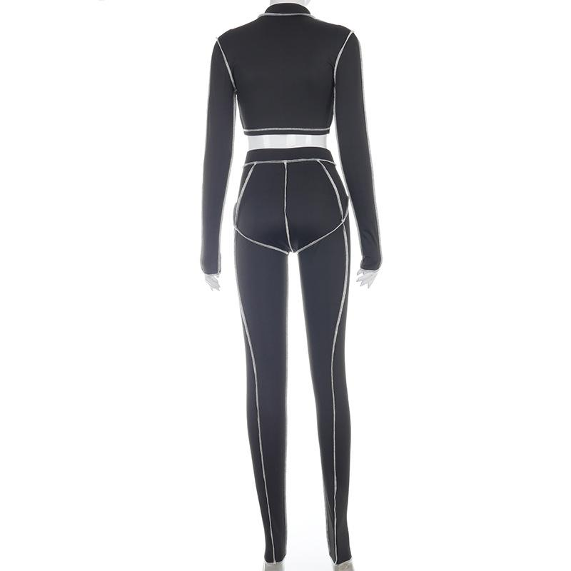 O-neck Long Sleeve Hollow Push Up Crop Top and Leggings Two-piece - MorphU LLC
