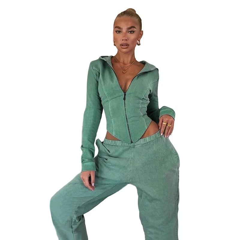 Cotton Solid Matching Sets Full Sleeve Zipper Tops+Pants - MorphU LLC