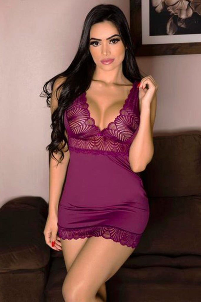 Purple Microfibra Lace V Neck Chemise