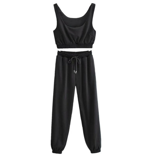 Women Crop Top and High Waist Sports Pants Two-piece