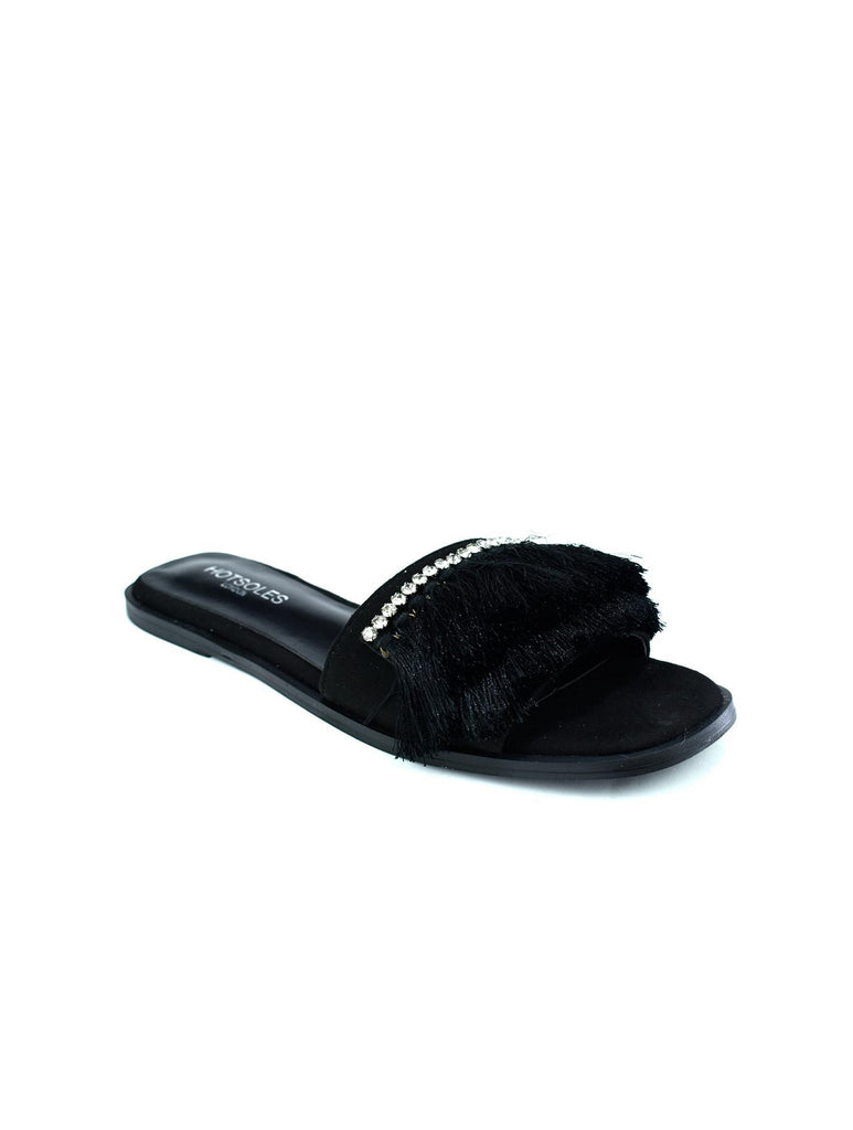 Hot Soles London Faux Fur Sliders Black