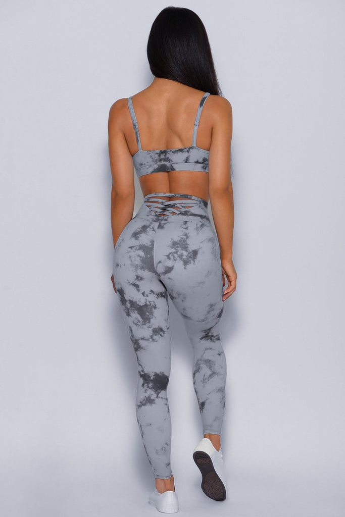 Womens Gray Tie-dye Crisscross Sport Bra and Leggings Set - MorphU LLC