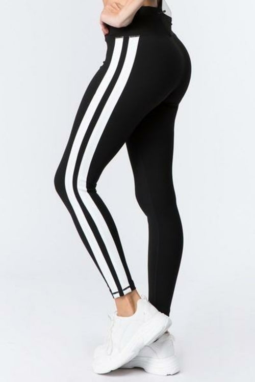 Women's Active V Waistband Double Striped Workout Leggings (S-L) - MorphU LLC